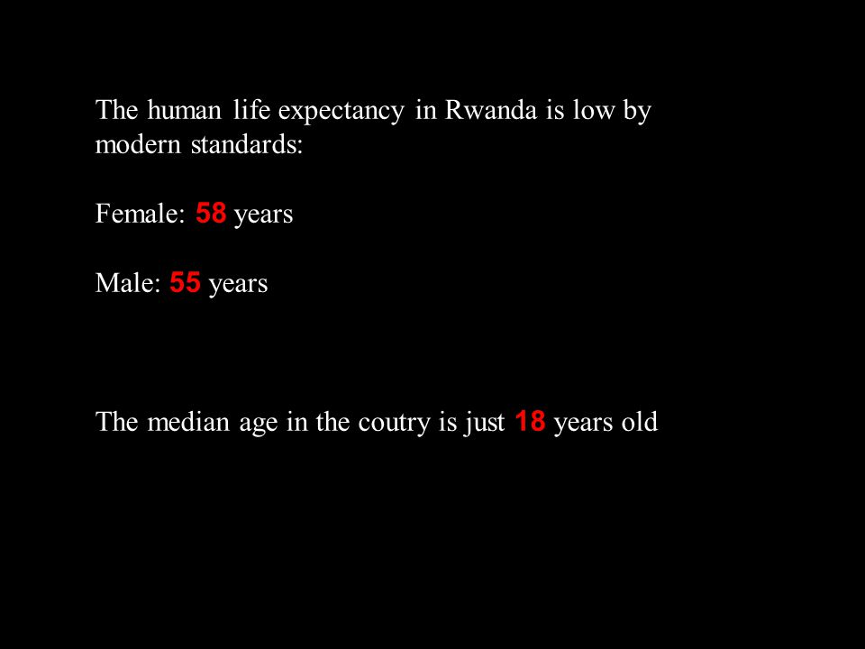 The human life expectancy in Rwanda is low by modern standards: Female: 58 years Male: 55 years The median age in the coutry is just 18 years old