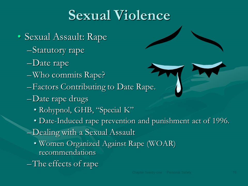 Sexual Violence Sexual Assault: RapeSexual Assault: Rape –Statutory rape –Date rape –Who commits Rape? –Factors Contributing to Date Rape. –Date rape