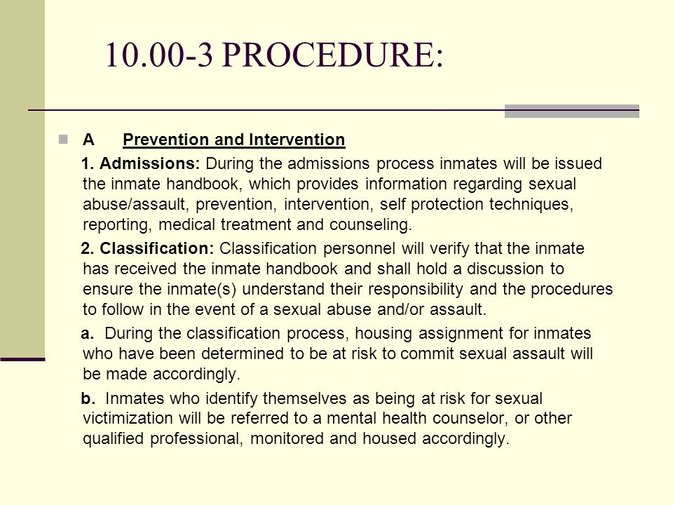 10.00-3 PROCEDURE: A Prevention and Intervention 1.