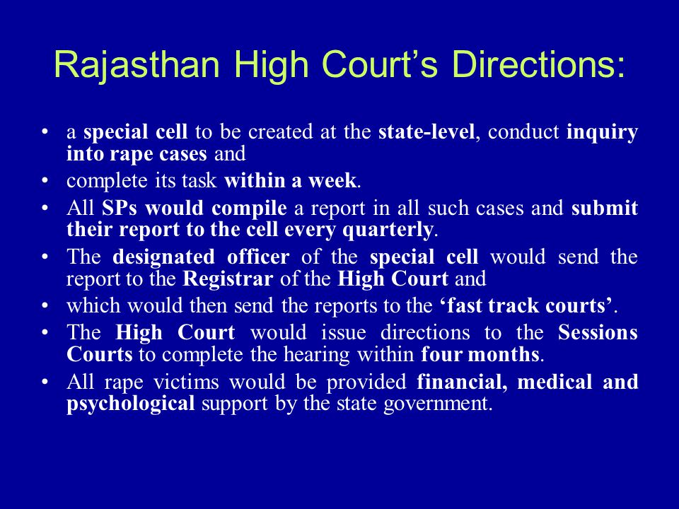 Rajasthan High Court's Directions: a special cell to be created at the state-level, conduct inquiry into rape cases and complete its task within a wee