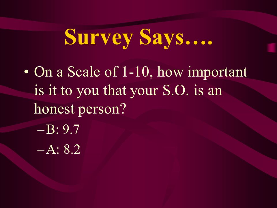 Survey Says…. On a Scale of 1-10, how important is it to you that your S.O. is an honest person? –B: 9.7 –A: 8.2