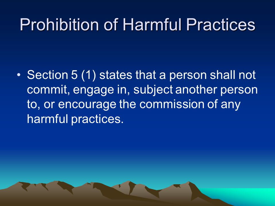 Prohibition of sex discrimination Section 4 (1) (a) of this act states that a person shall not treat another person less favourably than he or she would treat a person of his or her own sex.