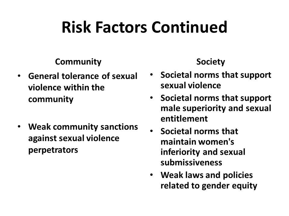 Risk Factors Continued Community General tolerance of sexual violence within the community Weak community sanctions against sexual violence perpetrators Society Societal norms that support sexual violence Societal norms that support male superiority and sexual entitlement Societal norms that maintain women s inferiority and sexual submissiveness Weak laws and policies related to gender equity