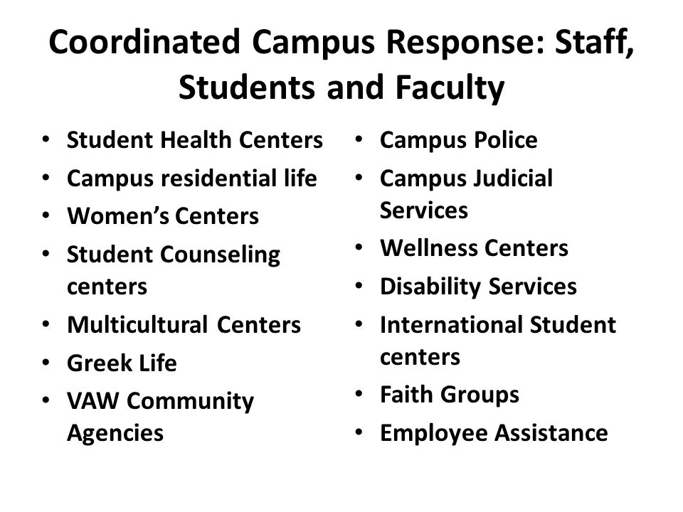 Coordinated Campus Response: Staff, Students and Faculty Student Health Centers Campus residential life Women's Centers Student Counseling centers Multicultural Centers Greek Life VAW Community Agencies Campus Police Campus Judicial Services Wellness Centers Disability Services International Student centers Faith Groups Employee Assistance
