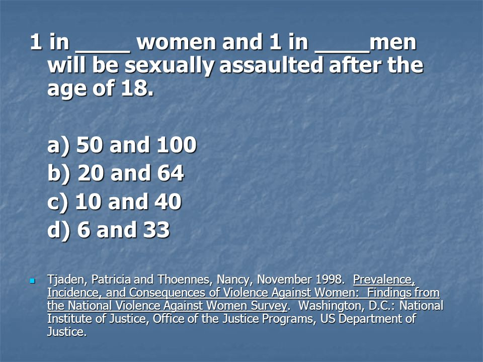 1 in ____ women and 1 in ____men will be sexually assaulted after the age of 18.