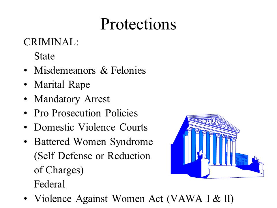 Protections CRIMINAL: State Misdemeanors & Felonies Marital Rape Mandatory Arrest Pro Prosecution Policies Domestic Violence Courts Battered Women Syn