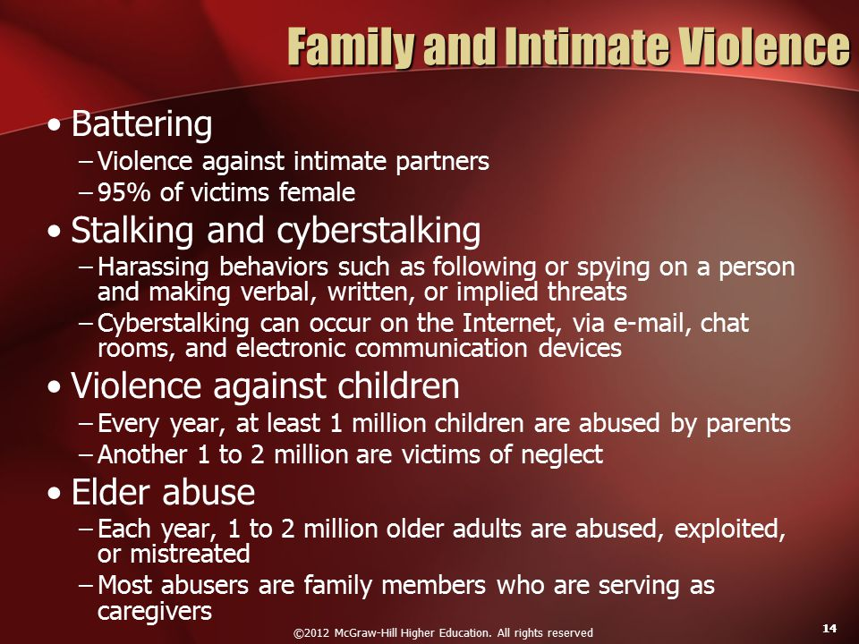 ©2012 McGraw-Hill Higher Education. All rights reserved 14 Family and Intimate Violence Battering –Violence against intimate partners –95% of victims
