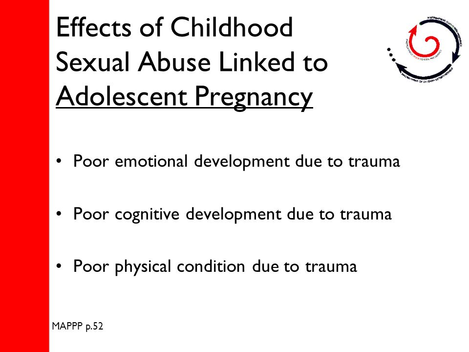 Effects of Childhood Sexual Abuse Linked to Adolescent Pregnancy Poor emotional development due to trauma Poor cognitive development due to trauma Poor physical condition due to trauma MAPPP p.52