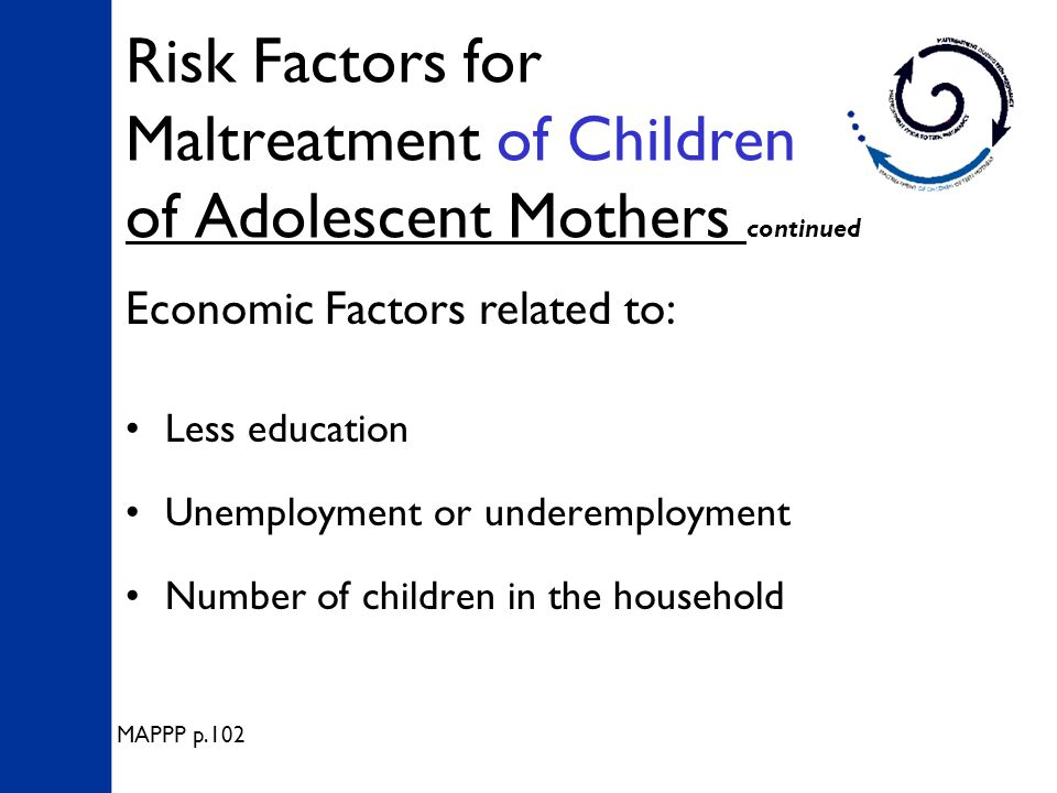 Risk Factors for Maltreatment of Children of Adolescent Mothers continued Less education Unemployment or underemployment Number of children in the household Economic Factors related to: MAPPP p.102