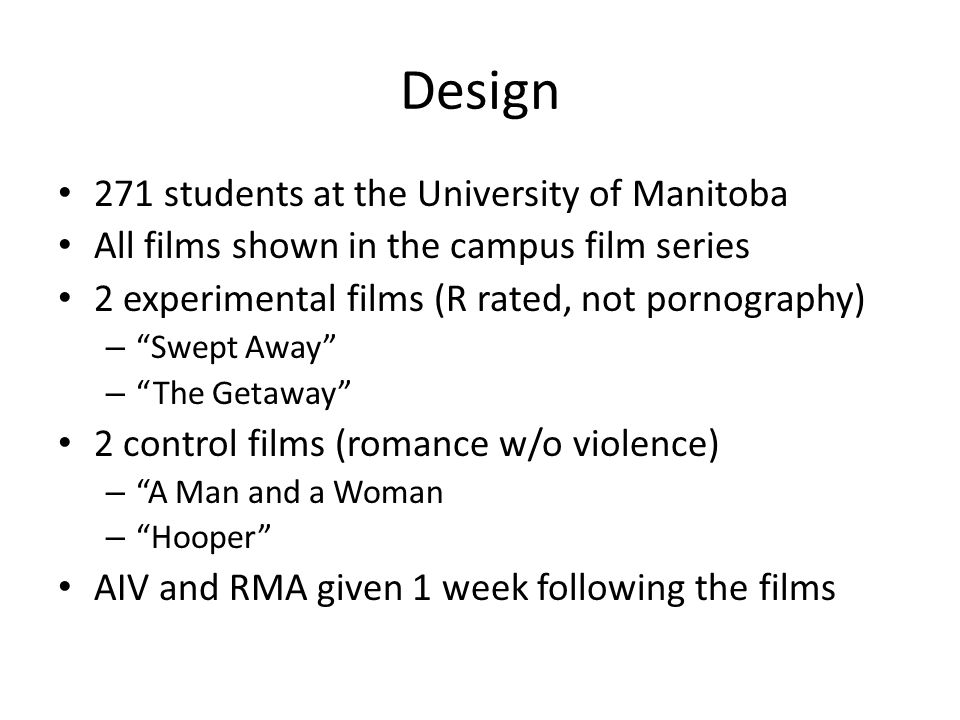 "Design 271 students at the University of Manitoba All films shown in the campus film series 2 experimental films (R rated, not pornography) – ""Swept A"