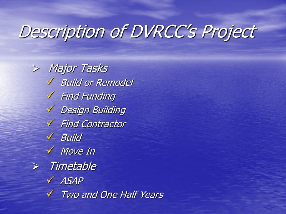 Description of DVRCC's Project  Major Tasks Build or Remodel Build or Remodel Find Funding Find Funding Design Building Design Building Find Contract