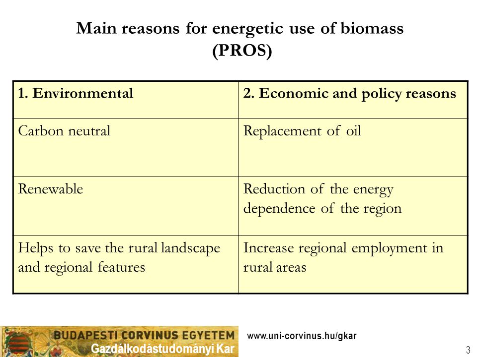 Gazdálkodástudományi Kar www.uni-corvinus.hu/gkar 3 Main reasons for energetic use of biomass (PROS) 1. Environmental2. Economic and policy reasons Ca