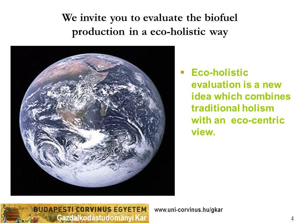 Gazdálkodástudományi Kar www.uni-corvinus.hu/gkar 5 Is production of bio-fuels really environmentally sound.