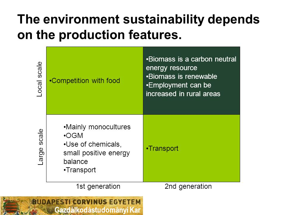 Gazdálkodástudományi Kar The environment sustainability depends on the production features. 1st generation Transport Biomass is a carbon neutral energ