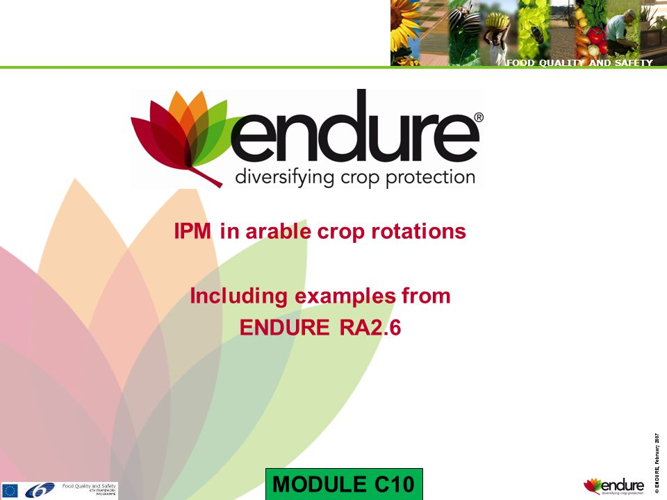 © ENDURE, February 2007 FOOD QUALITY AND SAFETY © ENDURE, February 2007 FOOD QUALITY AND SAFETY IPM in arable crop rotations Including examples from ENDURE RA2.6 MODULE C10