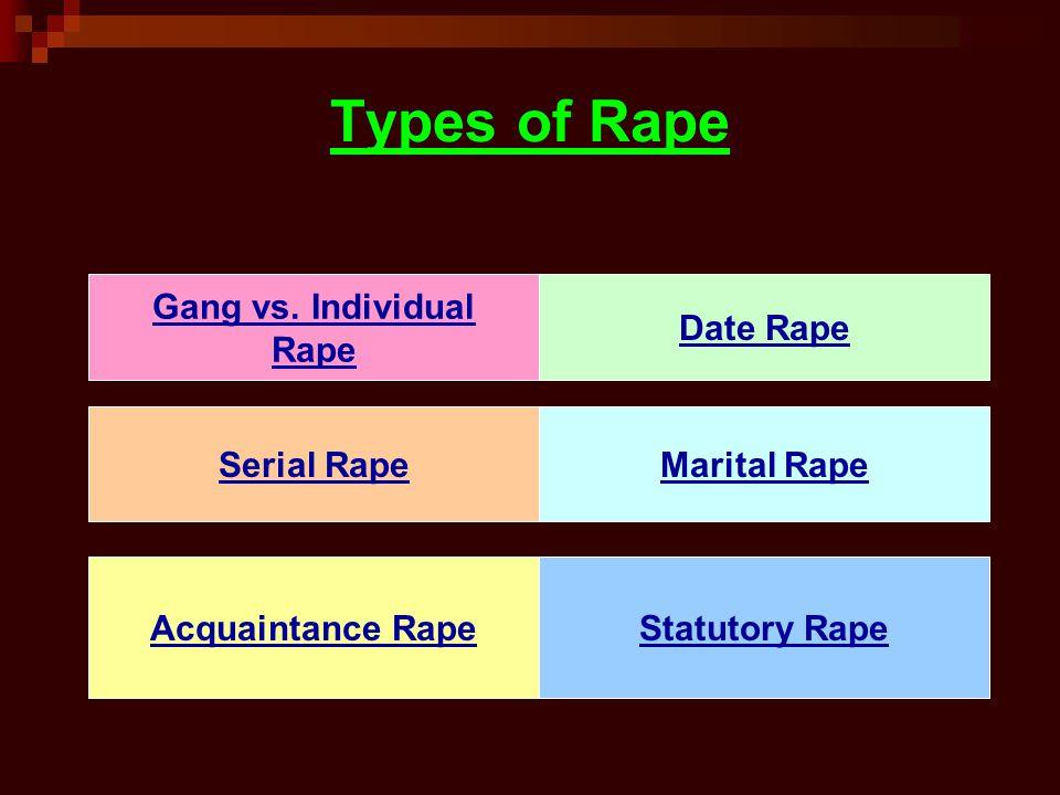 Types of Rape Gang vs. Individual Rape Serial Rape Acquaintance Rape Date Rape Marital Rape Statutory Rape