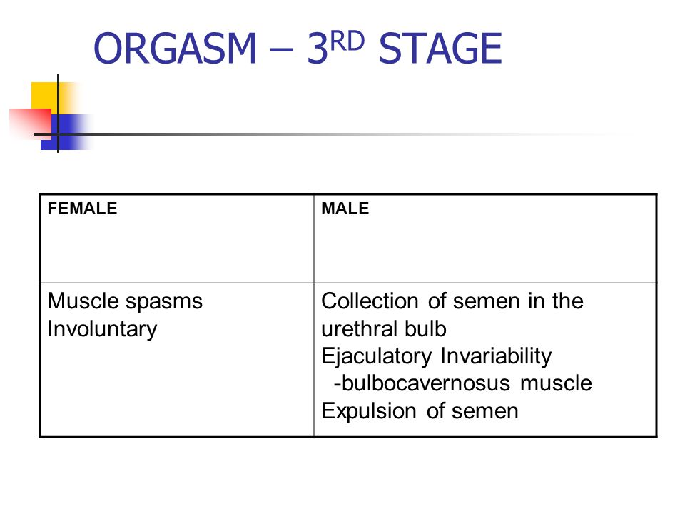 ORGASM – 3 RD STAGE FEMALEMALE Muscle spasms Involuntary Collection of semen in the urethral bulb Ejaculatory Invariability -bulbocavernosus muscle Expulsion of semen