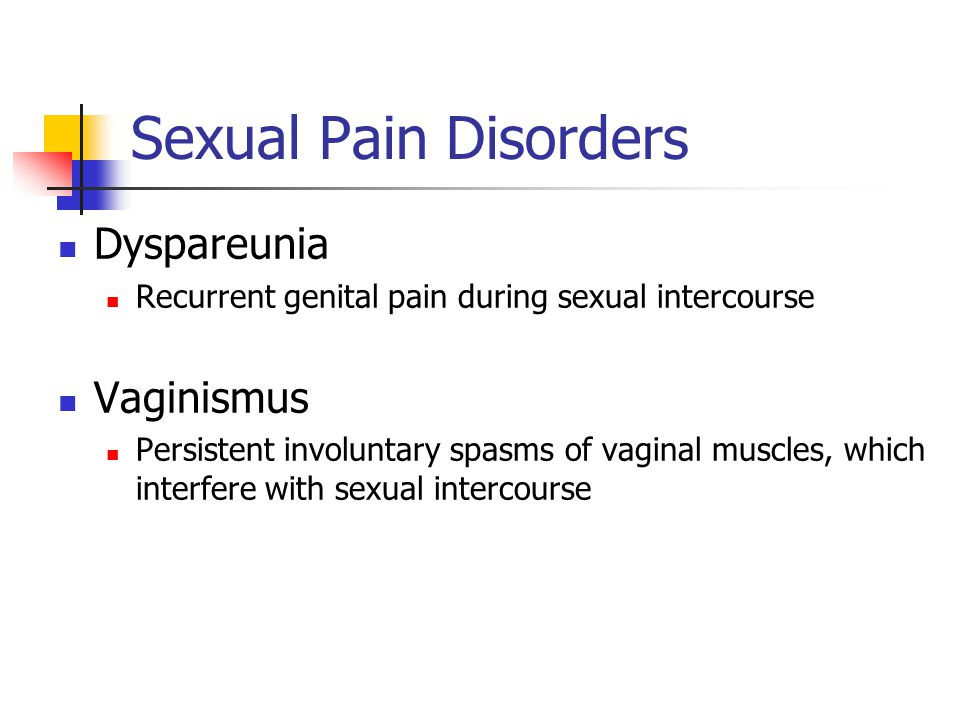 Sexual Pain Disorders Dyspareunia Recurrent genital pain during sexual intercourse Vaginismus Persistent involuntary spasms of vaginal muscles, which interfere with sexual intercourse