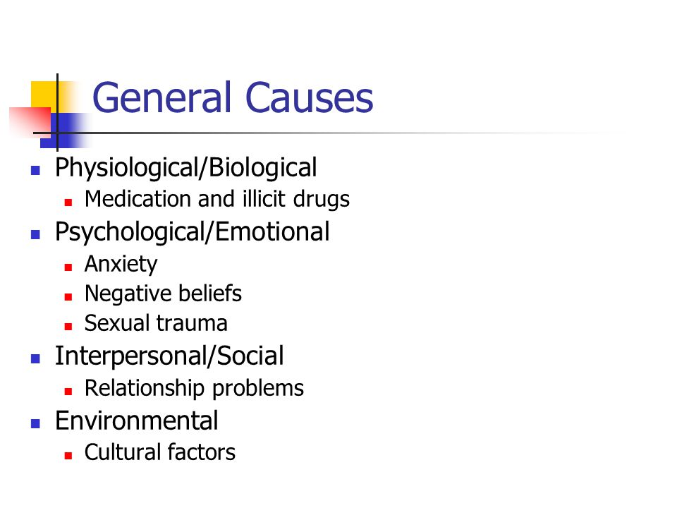 General Causes Physiological/Biological Medication and illicit drugs Psychological/Emotional Anxiety Negative beliefs Sexual trauma Interpersonal/Social Relationship problems Environmental Cultural factors