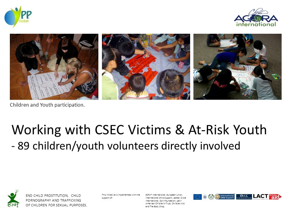 Working with CSEC Victims & At-Risk Youth - 89 children/youth volunteers directly involved Children and Youth participation.