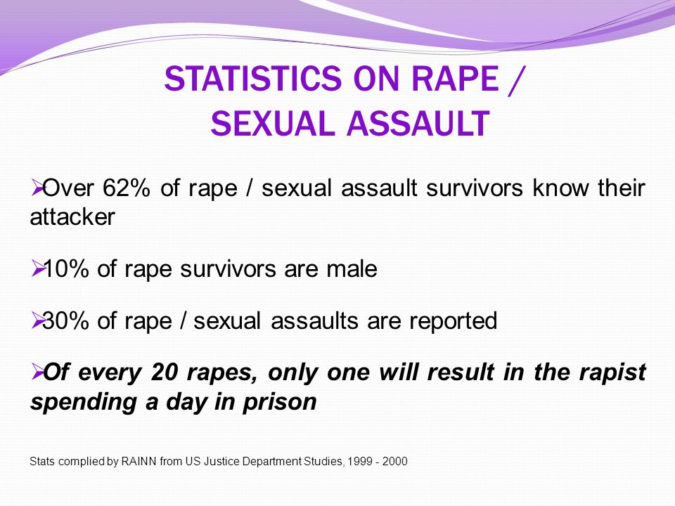 STATISTICS ON RAPE / SEXUAL ASSAULT  Over 62% of rape / sexual assault survivors know their attacker  10% of rape survivors are male  30% of rape /