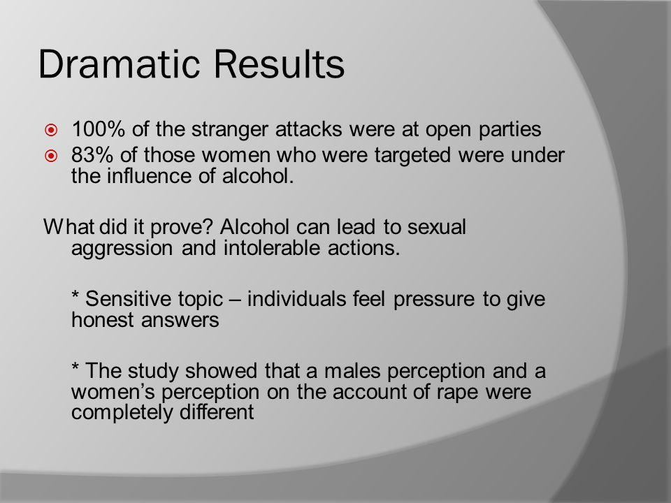 Dramatic Results  100% of the stranger attacks were at open parties  83% of those women who were targeted were under the influence of alcohol. What