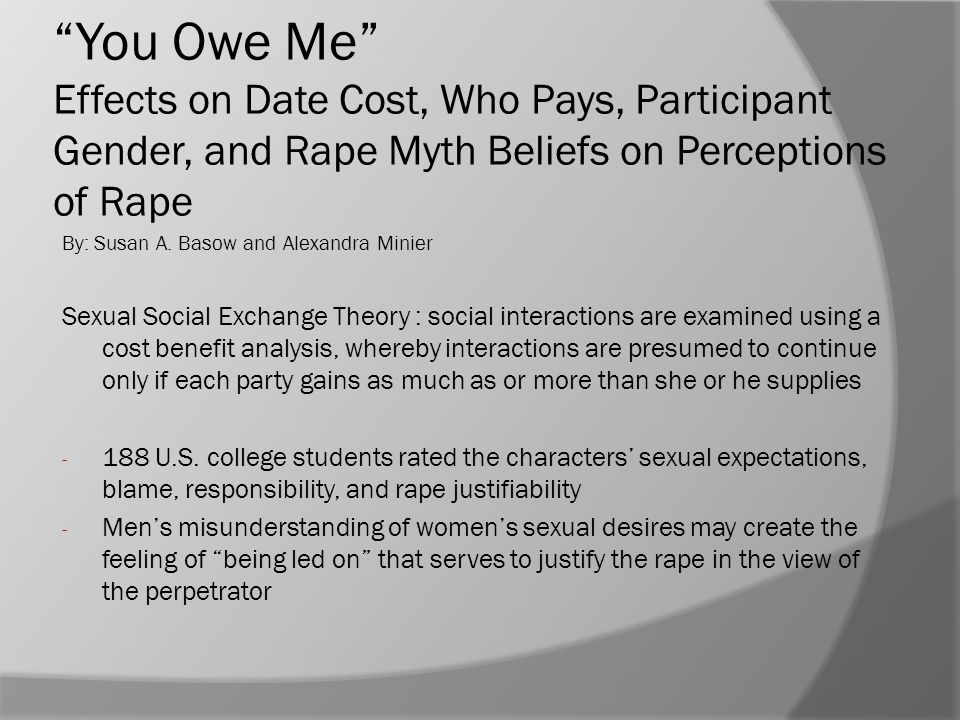 """""""You Owe Me"""" Effects on Date Cost, Who Pays, Participant Gender, and Rape Myth Beliefs on Perceptions of Rape By: Susan A. Basow and Alexandra Minier"""
