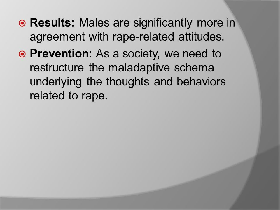  Results: Males are significantly more in agreement with rape-related attitudes.
