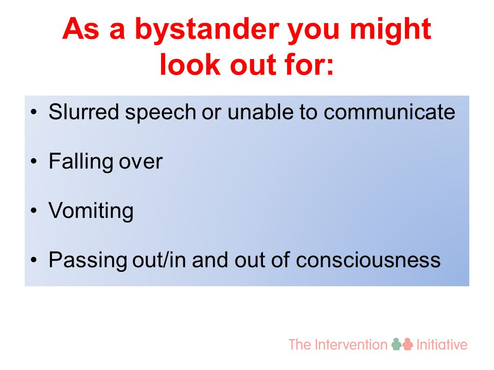 As a bystander you might look out for: Slurred speech or unable to communicate Falling over Vomiting Passing out/in and out of consciousness