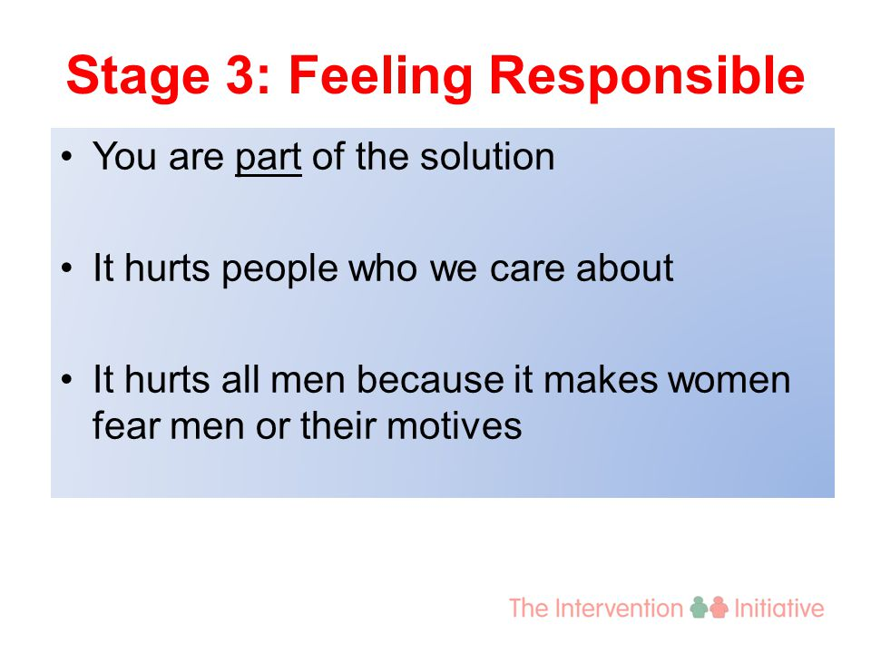 Stage 3: Feeling Responsible You are part of the solution It hurts people who we care about It hurts all men because it makes women fear men or their motives