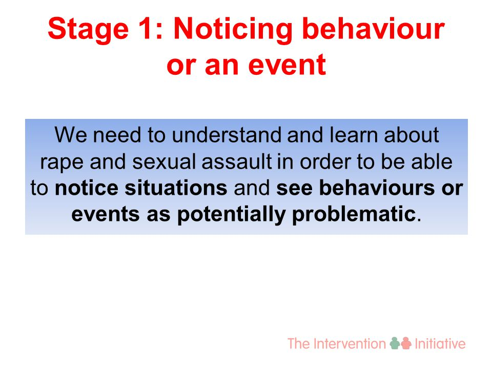 Stage 2: Interpreting behaviour or an event as a problem It goes on within your community Violence is everybody's problem The problem has not been solved