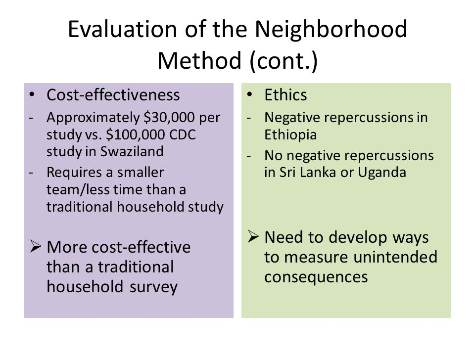 Evaluation of the Neighborhood Method (cont.) Cost-effectiveness -Approximately $30,000 per study vs.