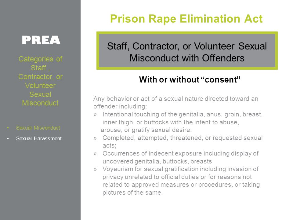 Prison Rape Elimination Act With or without consent Any behavior or act of a sexual nature directed toward an offender including: »Intentional touching of the genitalia, anus, groin, breast, inner thigh, or buttocks with the intent to abuse, arouse, or gratify sexual desire: »Completed, attempted, threatened, or requested sexual acts; »Occurrences of indecent exposure including display of uncovered genitalia, buttocks, breasts »Voyeurism for sexual gratification including invasion of privacy unrelated to official duties or for reasons not related to approved measures or procedures, or taking pictures of the same.