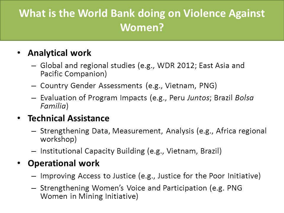 What is the World Bank doing on Violence Against Women.
