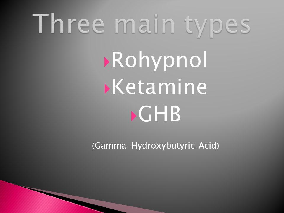  Rohypnol  Ketamine  GHB ( Gamma-Hydroxybutyric Acid )