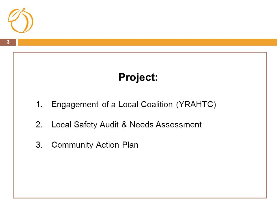 3 Project: 1.Engagement of a Local Coalition (YRAHTC) 2.Local Safety Audit & Needs Assessment 3.Community Action Plan