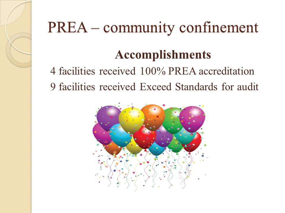 PREA – community confinement Accomplishments 4 facilities received 100% PREA accreditation 9 facilities received Exceed Standards for audit PASSED PREA