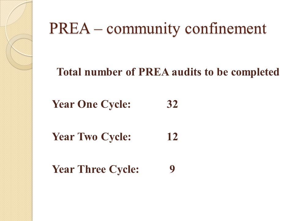 PREA – community confinement Total number of PREA audits to be completed Year One Cycle:32 Year Two Cycle:12 Year Three Cycle: 9