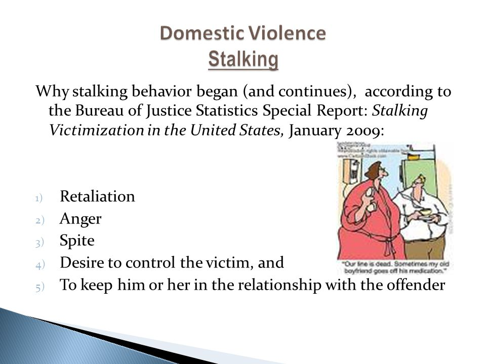 Why stalking behavior began (and continues), according to the Bureau of Justice Statistics Special Report: Stalking Victimization in the United States, January 2009: 1) Retaliation 2) Anger 3) Spite 4) Desire to control the victim, and 5) To keep him or her in the relationship with the offender