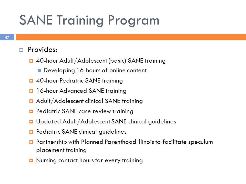 SANE Training Program  Provides:  40-hour Adult/Adolescent (basic) SANE training Developing 16-hours of online content  40-hour Pediatric SANE training  16-hour Advanced SANE training  Adult/Adolescent clinical SANE training  Pediatric SANE case review training  Updated Adult/Adolescent SANE clinical guidelines  Pediatric SANE clinical guidelines  Partnership with Planned Parenthood Illinois to facilitate speculum placement training  Nursing contact hours for every training 47