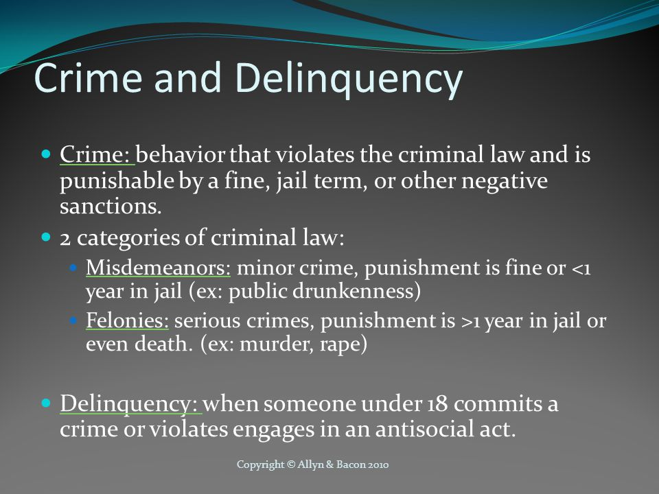 Crime and Delinquency Crime: behavior that violates the criminal law and is punishable by a fine, jail term, or other negative sanctions.