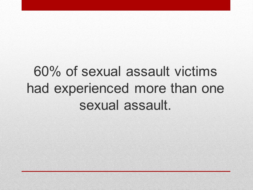 60% of sexual assault victims had experienced more than one sexual assault.