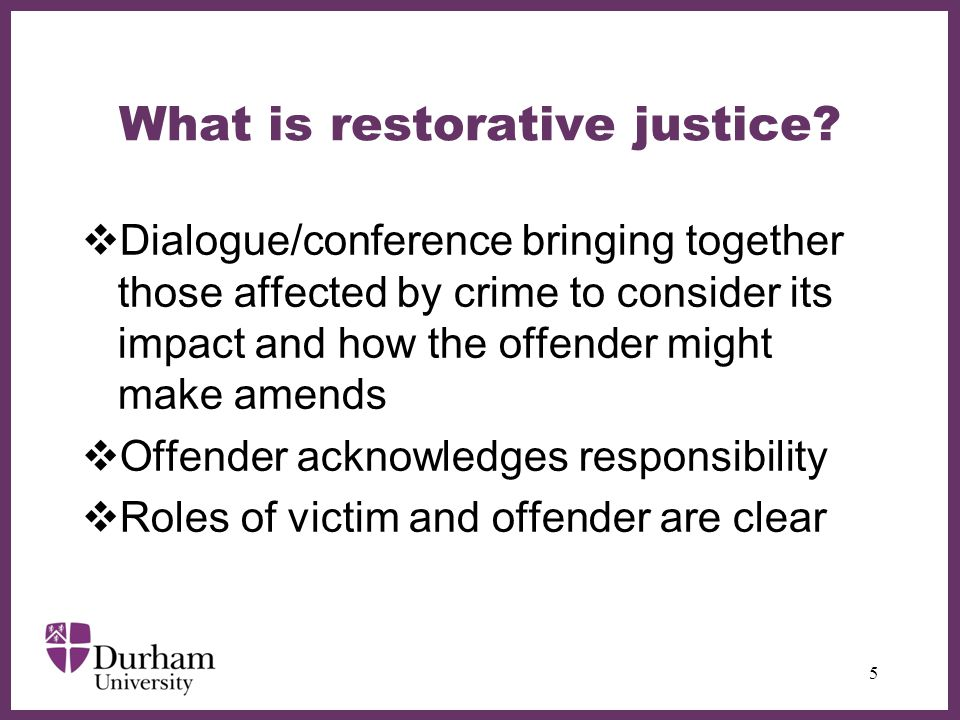 ∂ What is restorative justice.