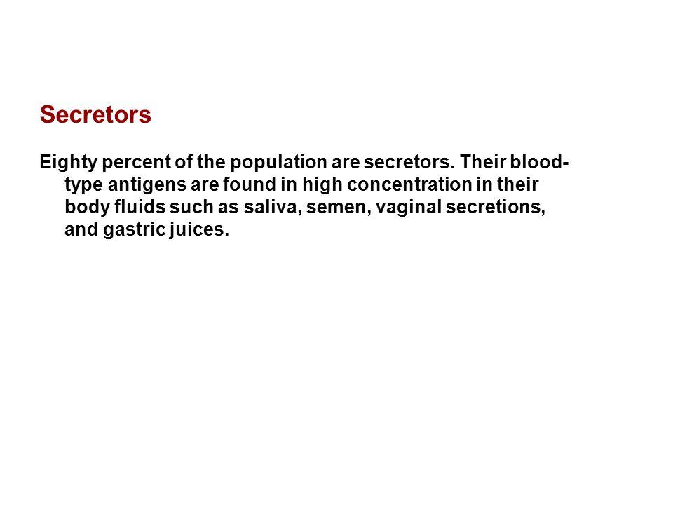 Secretors Eighty percent of the population are secretors.