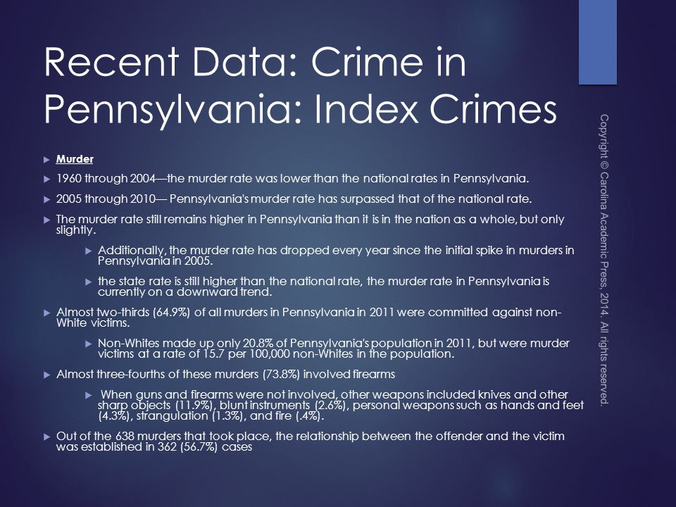 Recent Data: Crime in Pennsylvania: Index Crimes  Murder  1960 through 2004—the murder rate was lower than the national rates in Pennsylvania.