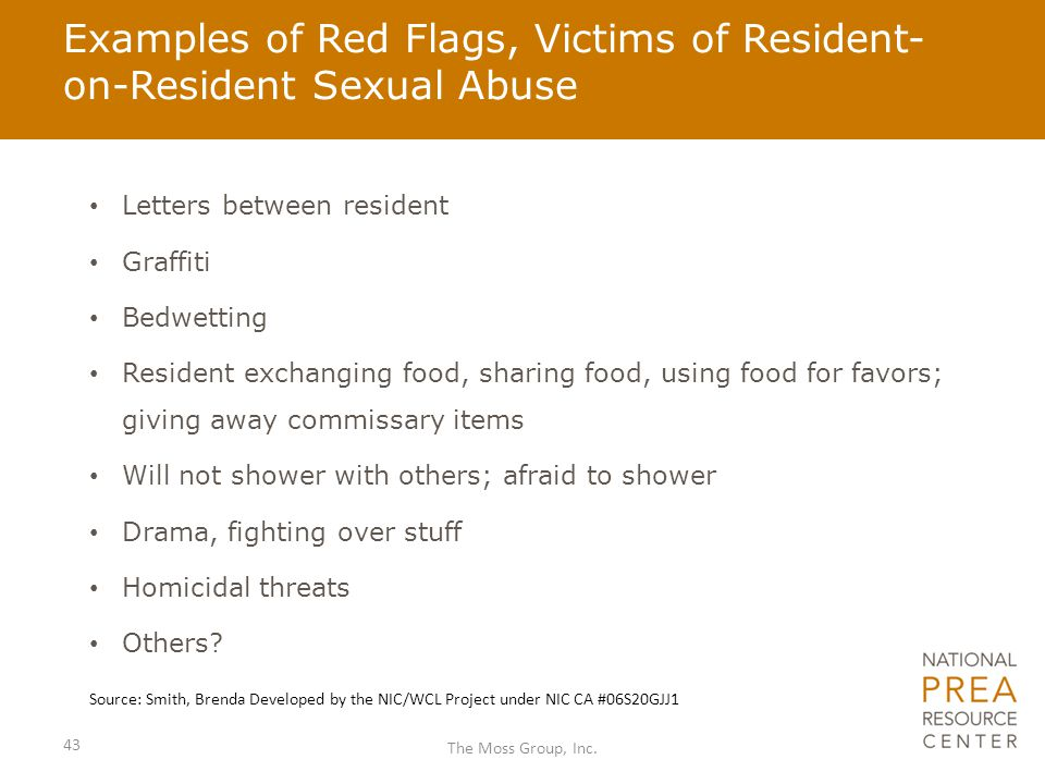 Examples of Red Flags, Victims of Resident- on-Resident Sexual Abuse Letters between resident Graffiti Bedwetting Resident exchanging food, sharing fo