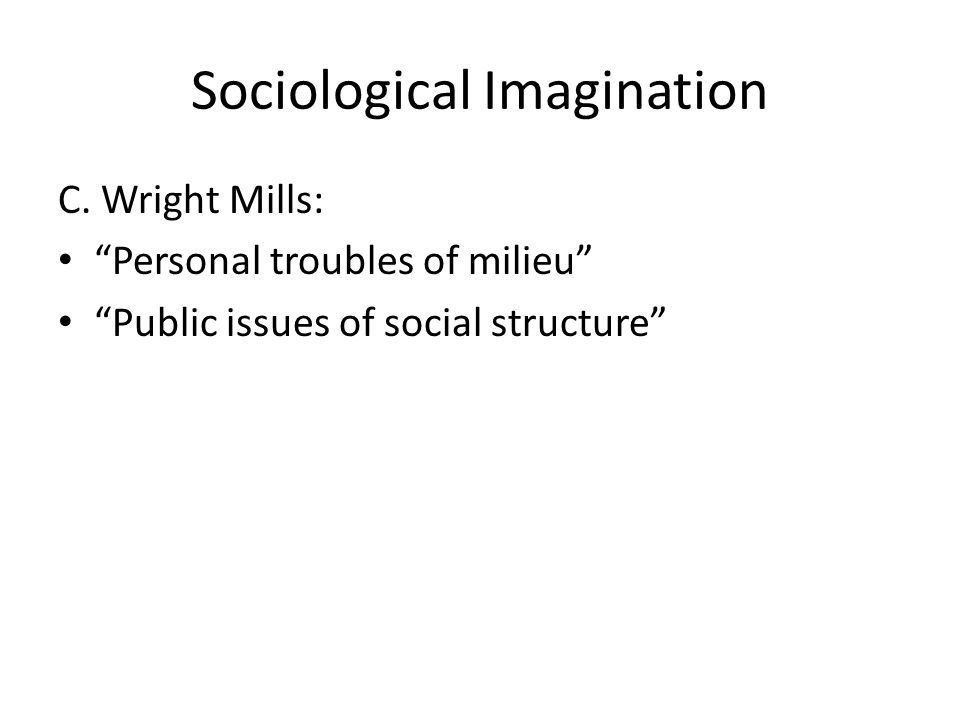 Sociological imagination (2) The sociological imagination requires that we search for the link between the micro and macro levels of analysis Mill's characterization of sociology as the intersection between biography and history reminds us that the process works in both directions: While larger social forces influence individual lives, there are many ways in which our individual lives can affect society as well