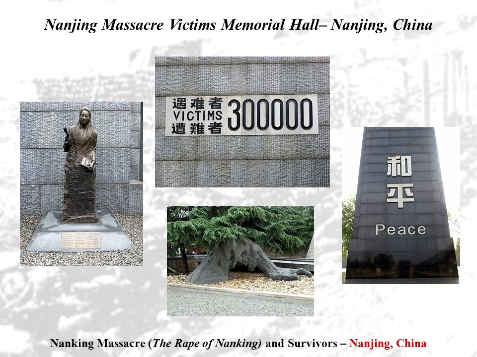 Nanking Massacre (The Rape of Nanking) and Survivors – Nanjing, China Nanjing Massacre Victims Memorial Hall– Nanjing, China