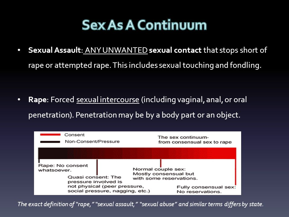 Sexual Assault: ANY UNWANTED sexual contact that stops short of rape or attempted rape.