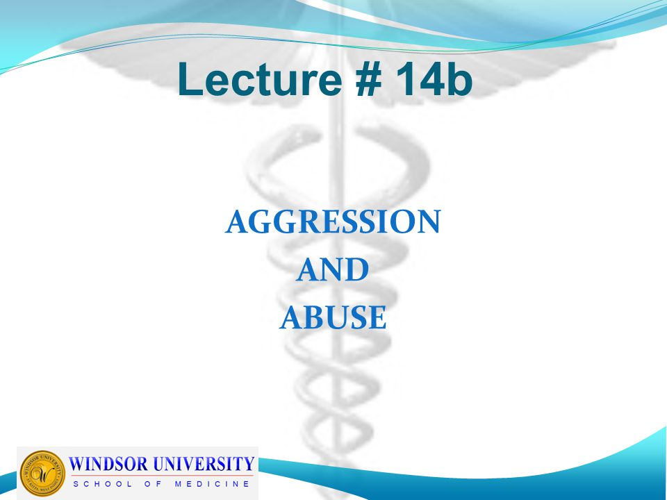 Lecture # 14b AGGRESSION AND ABUSE